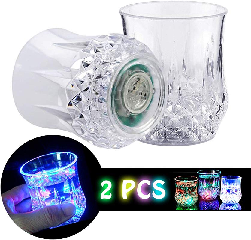 Shot Glasses 2 PCS DiDaDi Automatic Water Activated Colorful Flashing LED Light Up Flash Blinking Beer Wine Whisky Vodka Martini Drinkware Glow Glasses Mugs For Bar Club Christmas Party Supplies