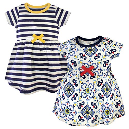 Touched by Nature Vestidos de algodón orgánico Girl, Pottery Tile Short Sleeve 2 Pack, 3 Toddler (3T)