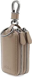 AslabCrew Car Key case Genuine Leather Car Smart Key Chain Keychain Holder Metal Hook and Keyring Zipper Bag for Remote Key Savage-PaleBrown