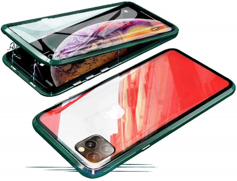 Funda para iPhone 11 Pro MAX Magnética Adsorción Tecnología Carcasa Metal Bumper Cubierta Estuche 360 Grados Protección Cubierta Antes y Trasera de Transparente Vidrio Templado Caja Flip Cover,Verde: Amazon.es: Electrónica