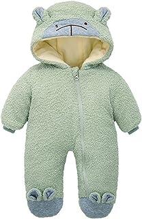 طفل الفتيان الفتيات أفخم الشتاء الدافئة مقنعين الرومبرين الرضع مبطن للجنسين حللا سستة الملابس (Color : Brown, Size : 0-3 M...