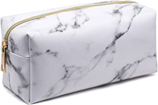 Marble Makeup Bag Organizer Portable Cosmetic Pouch Travel Brush Holder PU Handbag with Gold Zipper Pencil Storage Case for Women Purse,White (7.5