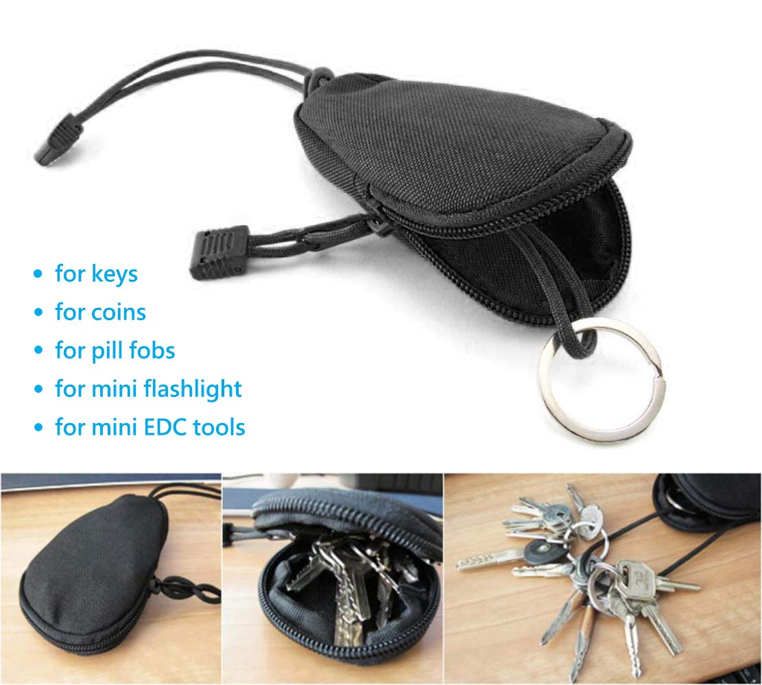 Unisex Portable Key Pouch Holder MOLLE Design Coin Purse with Zipper Closure and