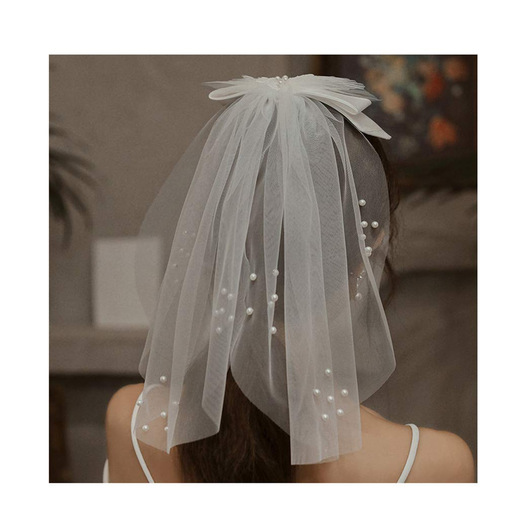 Campsis Wedding Bridal Veil with Comb White Short Bow Knot Tulle Veils Bride Pearl Veil Hair Accessories for Women and Girls