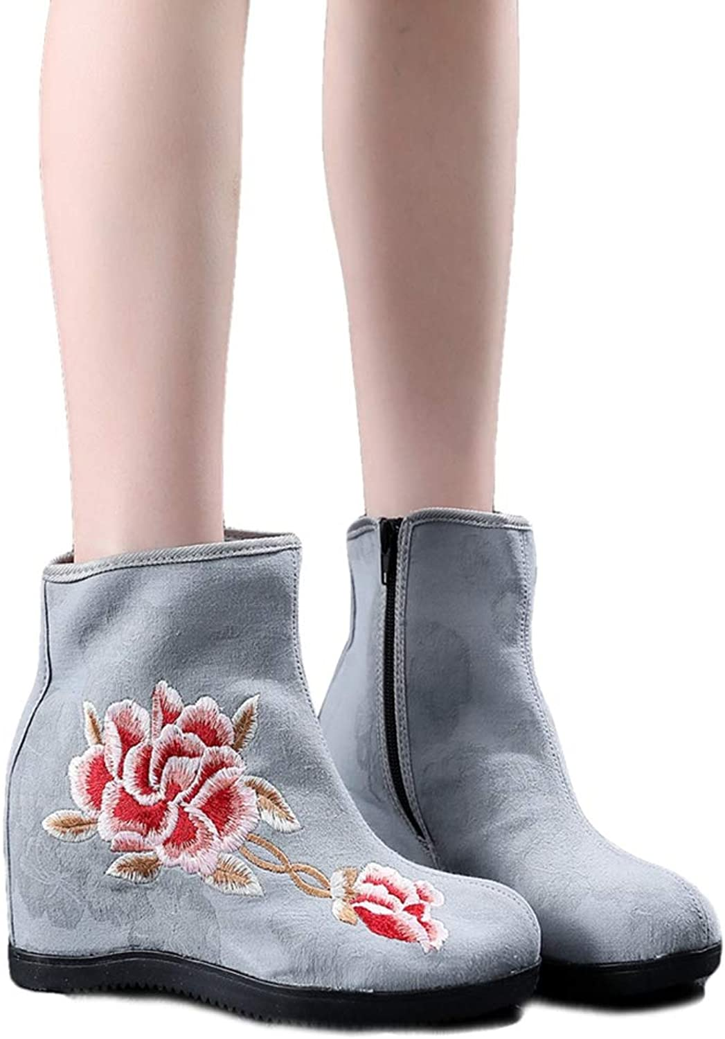 Kyle Walsh Pa Women Embroidered Ankle Booties Hidden Wedge Ladies Soft Comfortable Autumn Winter Boots