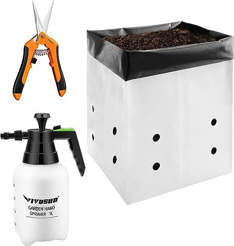 VIVOSUN 50-Pack 5 Gallon Grow Bags with Gardening Hand Pruner Pruning Shear and 34oz Hand held Garden Sprayer Pump Pressure Water Sprayers