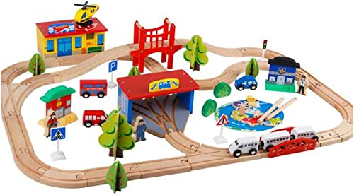 KTYXGKL Holzbahn-Angelset 80 Stück Kinder-Bahnspielzeug-Set Lernspielzeug für Kinder