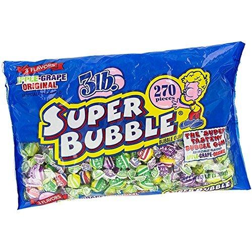 Super Bubble Bubble Gum, 3lb Bag of Assorted Flavors