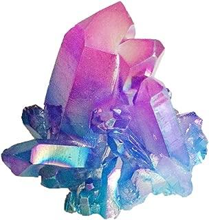 DingSheng Aura Bismuth Titanium Coated Quartz Crystal Clusters Rock Quartz Cluster Geode Druzy Healing Crystal Home Decoration Specimen (Titanium Quartz-Purple&Blue)