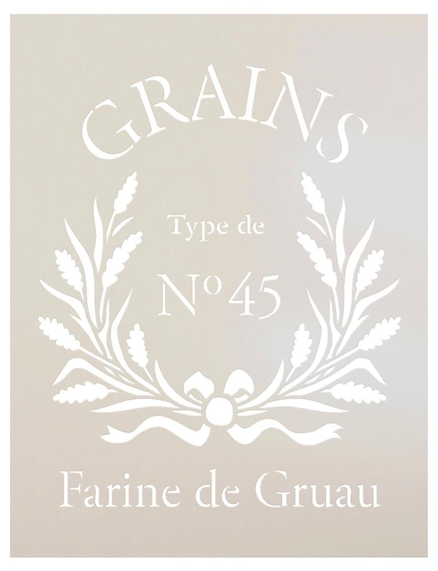 FRENCH GRAIN SACK Stencil by StudioR12 | Reproduction Farine De Gruau Word Art - Reusable Mylar Template | | Use for Painting Pillows DIY Home Decor- Chalk Furniture- Modern Farmhouse | SELECT SIZE