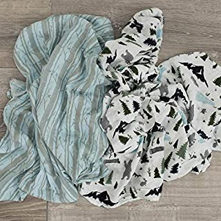 GRACED SOFT LUXURIES Extra Soft Bamboo Muslin Swaddle Baby Blankets 70% Bamboo 30% Cotton 2 Pack (Woodland Forest)