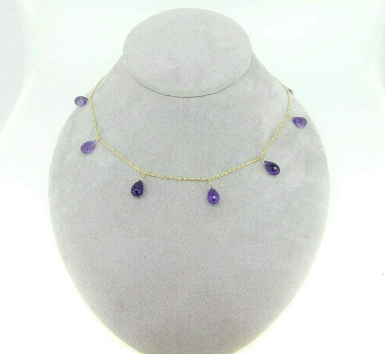 14k Yellow Gold 34 Carat Neck Briolette Oklahoma City Mall Super sale period limited Amethyst Natural Genuine