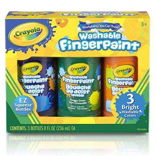 Crayola Washable Bright Fingerpaint, Secondary Colors 3 ea