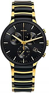 Rado Swiss Centrix Chronograph Ceramic Black Dial Gold Watch for Men