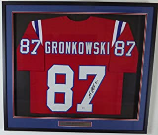 New England Patriots Rob Gronkowski Autographed Framed Red Jersey Beckett BAS