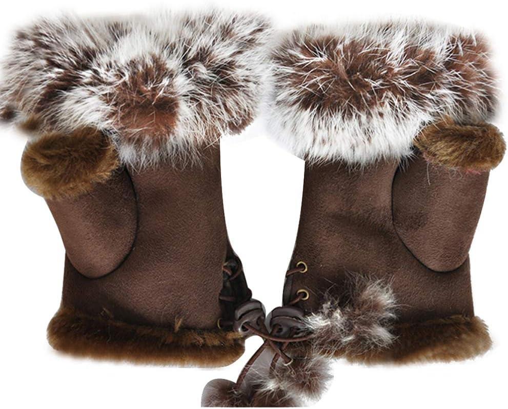 FENICAL Warm Stylish Soft Wool Half Finger Gloves for Women Ladies Girls(Coffee)