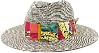 Outdoor Bucket Sun Hat Men's Summer Women Straw Sun Hat Elegant Lady Beach Ha Wide Brim Sun Hat Garland Sunbonnet Size56-58CM (Color : Gray, Size : 56-58CM)