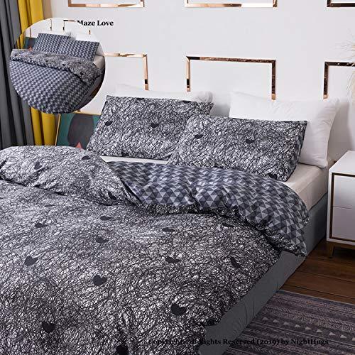 Earthly Labyrinth Love-Muster, wendbar, 3-teiliges Bettbezug-Set mit Reißverschluss + 2 Kissenbezüge, ultra-weich, hypoallergen, Mikrofaser Perkal, Erdliches Labyrinth Liebe, Einzelbett