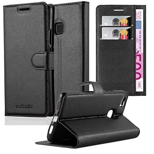 Cadorabo Funda Libro para Huawei P8 Lite 2017 en Negro Fantasma - Cubierta Proteccíon con Cierre Magnético, Tarjetero y Función de Suporte - Etui Case Cover Carcasa