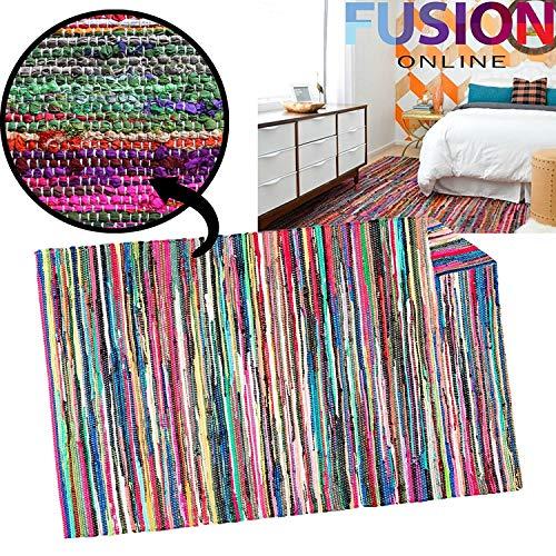 Fusion Online 100% COTTON HANDMADE MULTI COLOUR CHINDI RUG AREA RAG RUGS FLAT WEAVE MAT MATS (120 cm x 180 cm)