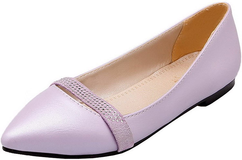 AllhqFashion Women's Low-Heels PU Solid Closed-Toe Pumps-shoes