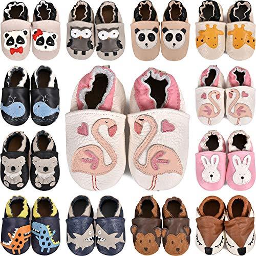 BAOLESEM Baby Lauflernschuhe Jungen Mädchen Weicher Leder Krabbelschuhe Kleinkind Babyhausschuhe Rutschfesten Wildledersohlen,Flamingo,6-12 Monate