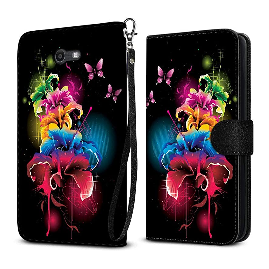 FINCIBO Case Compatible with Samsung Galaxy J7 2017/ J7V J727 Sky Pro Perx, Protective Flip Canvas Pouch Case Card Holder TPU Cover for Galaxy J7 2017 Sky Pro (NOT FIT J7 2016) - Multicolor Flowers