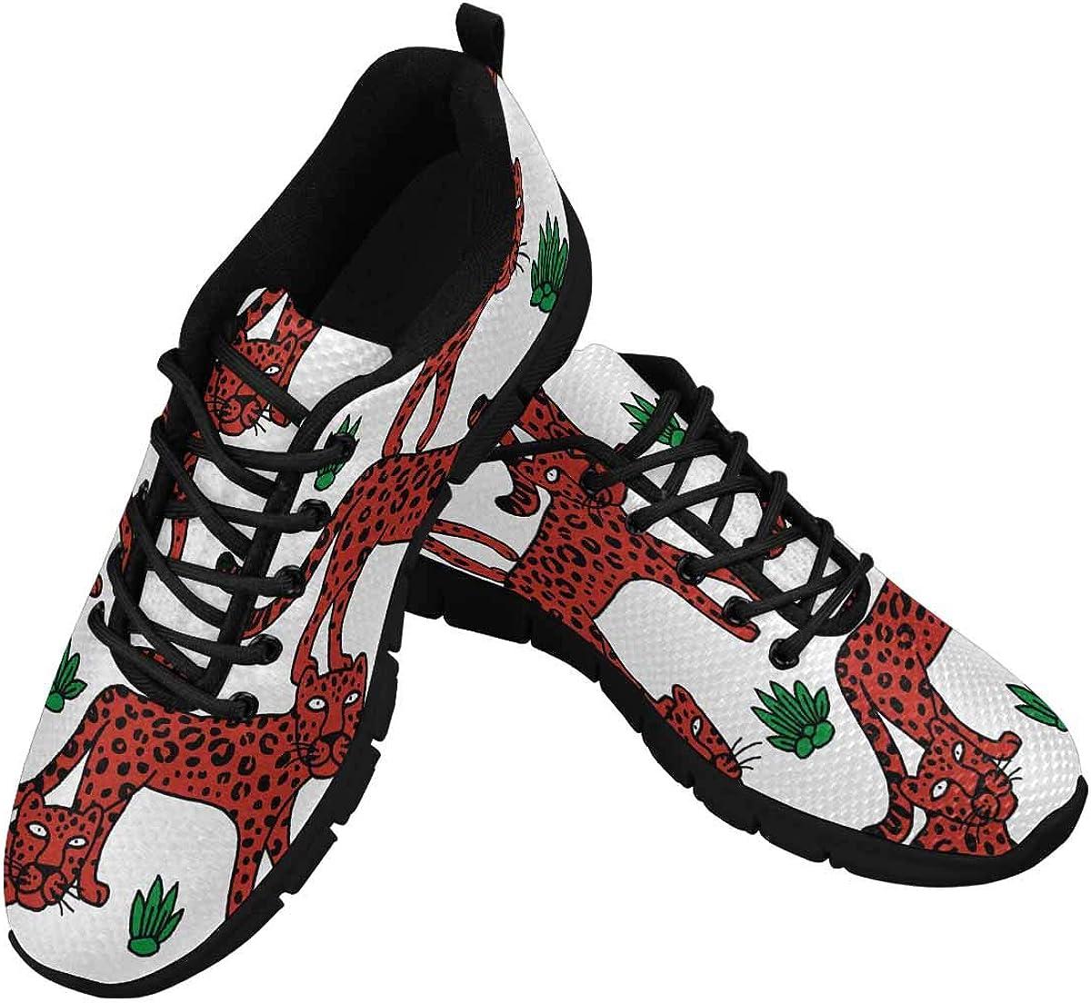 INTERESTPRINT Red Leopard Women's Breathable Non Slip Sneakers