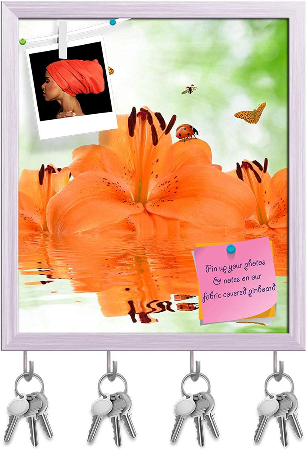 Artzfolio orange Lily with Butterflies & Ladybugs Key Holder Hooks   Notice Pin Board   White Frame 16 X 18.4Inch