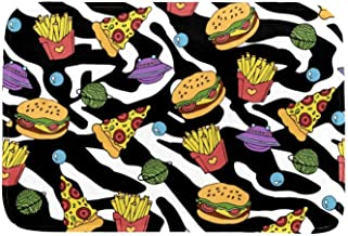 EGGDIOQ Doormats Pizza Hamburger and French Fries Custom Print Bathroom Mat Waterproof Fabric Kitchen Entrance Rug, 23.6 x...
