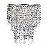 Waneway Acrylic Chandelier Shade, Ceiling Light Shade Beaded Pendant Lampshade with Crystal Beads and Chrome Frame for Bedroom, Wedding or Party Decoration, Diameter 8.7 inches, 3 Tiers, Silver
