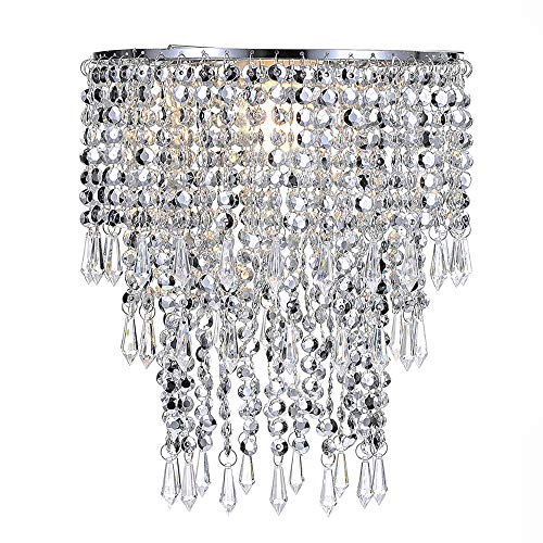 Waneway Chandelier Light Shade for Ceiling Pendant Light, Easy Fit Crystal Lamp Shade Lampshade for Bedroom, Living Room, Hallway, Wedding or Party Decoration, Diameter 22 cm, 3 Tiers, Silver