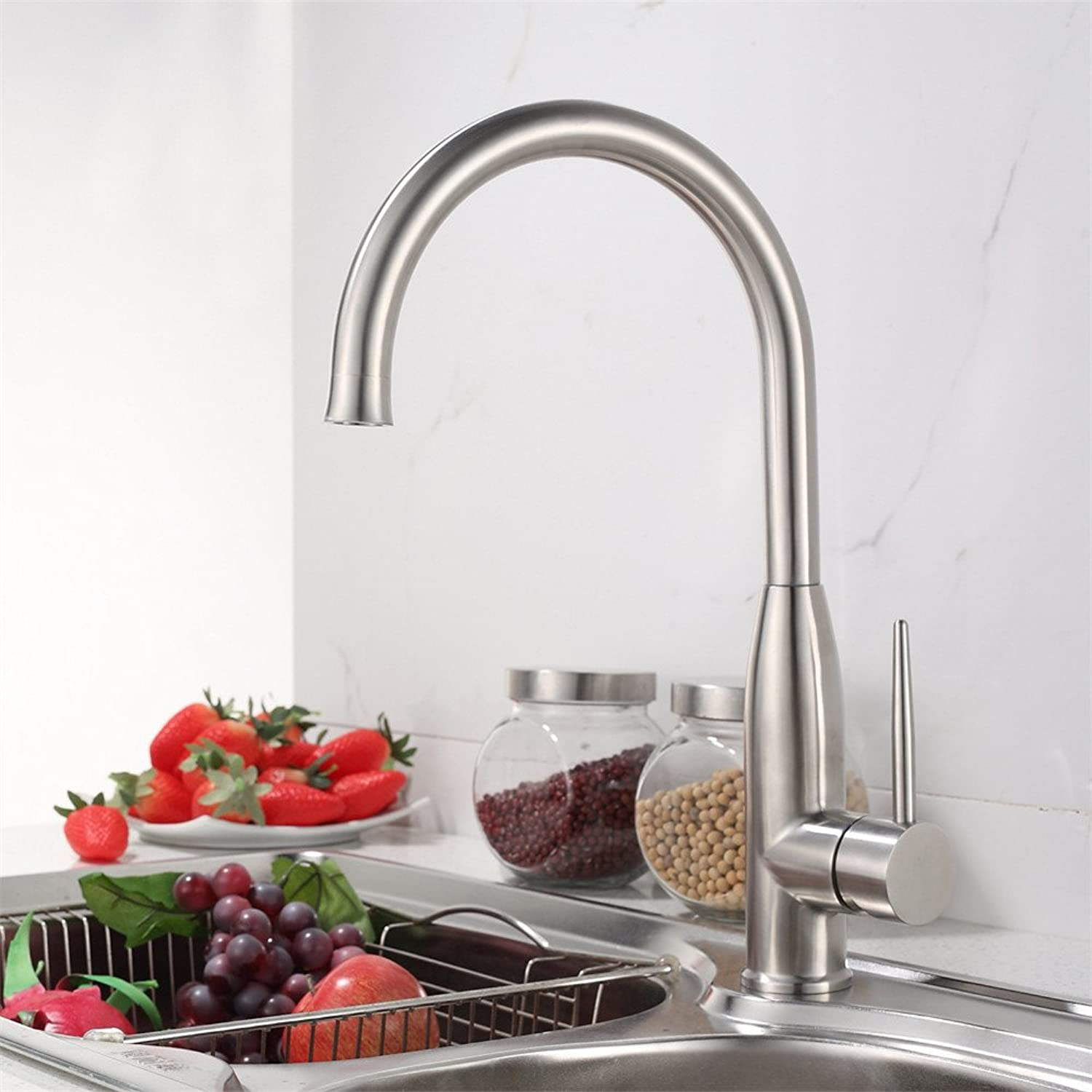 Bijjaladeva Antique Bathroom Sink Vessel Faucet Basin Mixer Tap 304 Stainless Steel kitchen sink, hot and cold redary Mixer kitchen sink brushed Faucet