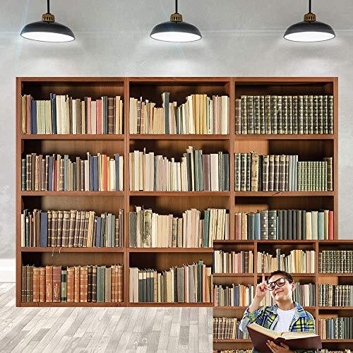 BINQOO Fondo para el hogar, la oficina, la biblioteca con zoom, pantalla de fondo, vintage, libros mágicos, biblioteca antigua, fondo de fotografía de vinilo (210 cm x 150 cm)