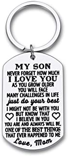 To My Son Christmas Keychain Gifts from Mom Dad Mother To Son Him Teens Stocking Stuffers Adult Men Teenage Boys Kids Birt...