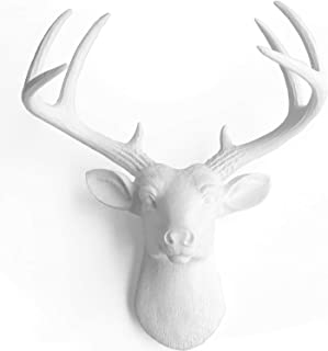 WallCharmers 14 Inch Mini White Faux Deer Head - Faux Taxidermy Animal Head Wall Decor - Handmade Farmhouse Decor - Fake Taxidermy Deer Antlers Gallery Wall Decor