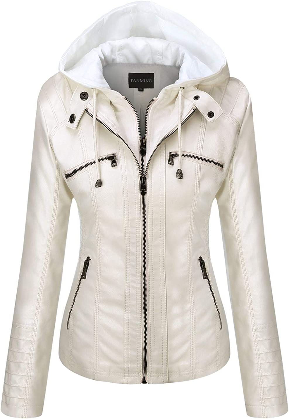 Tanming Women's Removable Hooded Leather OFFicial Faux Jackets specialty shop