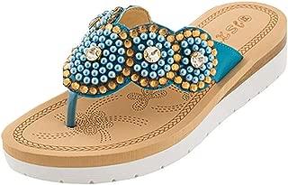 〓COOlCCI〓Women's Boho Beach Summer Flat Sandals T-Strap Beaded Dress Thong Flip Flops Comfortable Slip On Casual Shoes