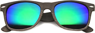 Wood Printed Frame Wide Temple Square Colored Mirror Lens Horn Rimmed Sunglasses 58mm