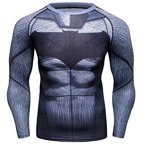 Red Plume Men's Bat Logo Sports Shirt Cool Party/Gift Running Functional Long Sleeve Tee (XL) Black