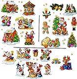 alles-meine.de GmbH 3 versch. Bögen: statisch haftende Fensterbilder -  wunderschöne Weihnachten  - Weihnachtskrippe / Schneemann / Weihnachtsbaum / Weihnachtsmann - wiederverw.. -
