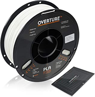 OVERTURE PLA Filament 1.75mm with 3D Build Surface 200mm × 200mm 3D Printer Consumables, 1kg Spool (2.2lbs), Dimensional Accuracy +/- 0.05 mm, Fit Most FDM Printer, White