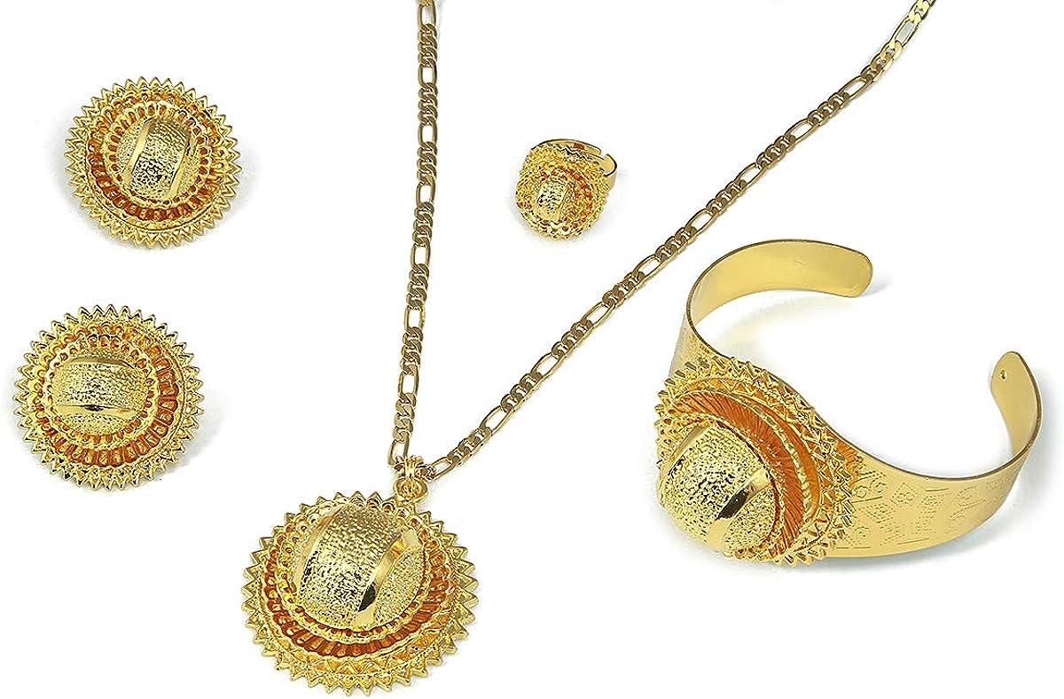 Ethiopian Gold Color Sets Pendant Necklace Earrings Bangle Ring Habesha Jewelry Eritrean Wedding Gift