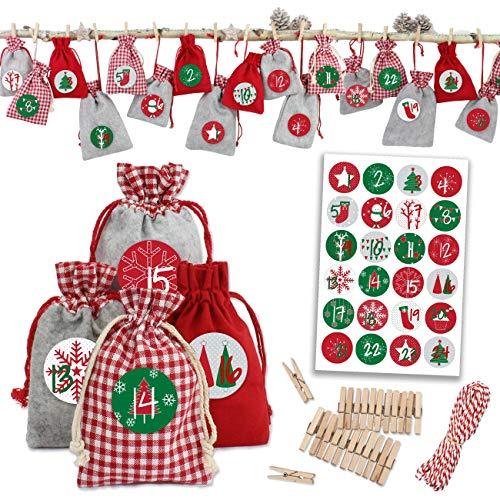 Papierdrachen 24 Adventskalender Stoffsäckchen zum Befüllen - mit Bäckergarn und Klammern - Stoffbeutel zum selber Dekorieren - Geschenksäckchen