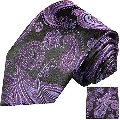 Cravate homme noir violet paisley ensemble de cravate 2 Pièces ( longueur 165cm )