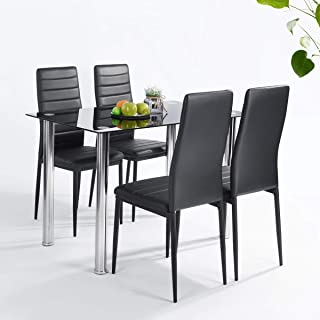 FURNITURE-R France Ensemble Table et Lot de x4 chaises de Salle à Manger, Noir, 110 x 66 x 76cm