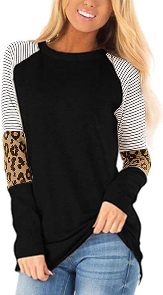 Aifer Women's Casual Leopard Color Block Tunics Long Sleeve Crew Neck Patchwork Stripe T Shirt Blouse Tops