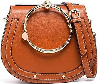 Cowhide Leather Top Handle Handbags Ring Purse Vintage Crossbody Shoulder Bags