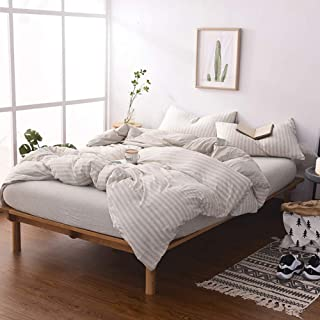 DOUH Jersey Knit Cotton Striped Duvet Cover Set, Ultra Soft 3 Piece Bedding Set Full Comforter Cover with Pillow Shams Light Brown Queen Size