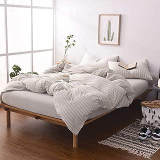 DOUH Jersey Knit Cotton Striped Duvet Cover Set King Size Light Brown Reversible Striped Comforter Cover 3 Pieces Bedding Set(1 Duvet Cover + 2 Pillow Shams),Simple Stripes Design